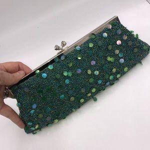 Vintage Jade Green Beaded Evening Clutch Bag